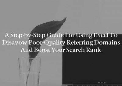 A Step-by-Step Guide for Using Excel to Disavow Poor-Quality Referring Domains and Boost Your Search Rank