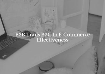 B2B Trails B2C in E-Commerce Effectiveness