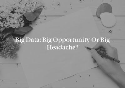 Big Data: Big Opportunity or Big Headache?