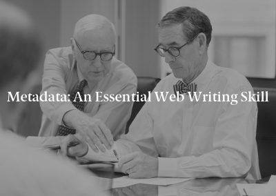 Metadata: An Essential Web Writing Skill