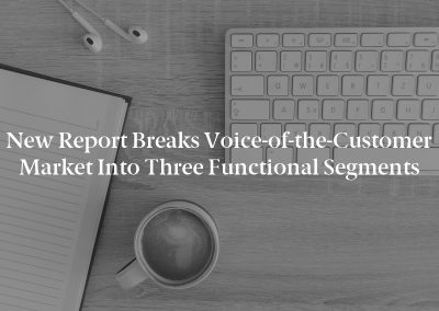 New Report Breaks Voice-of-the-Customer Market Into Three Functional Segments