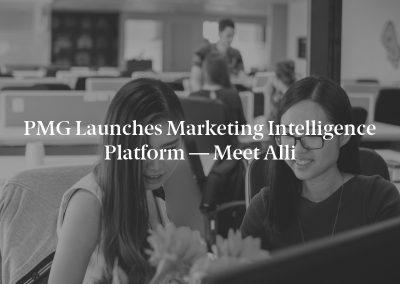 PMG Launches Marketing Intelligence Platform — Meet Alli