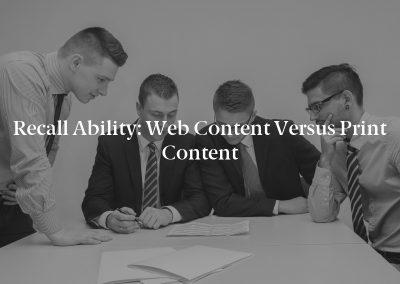 Recall Ability: Web Content Versus Print Content