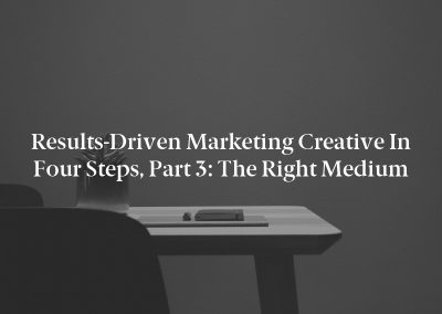 Results-Driven Marketing Creative in Four Steps, Part 3: The Right Medium
