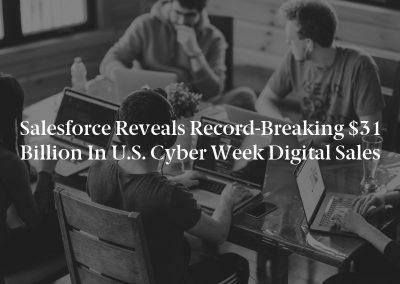 Salesforce Reveals Record-Breaking $31 Billion in U.S. Cyber Week Digital Sales