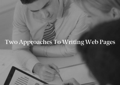Two Approaches to Writing Web Pages