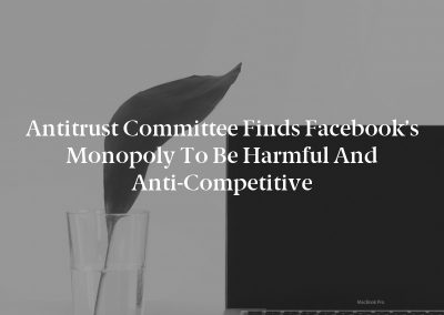 Antitrust Committee Finds Facebook's Monopoly to be Harmful and Anti-Competitive